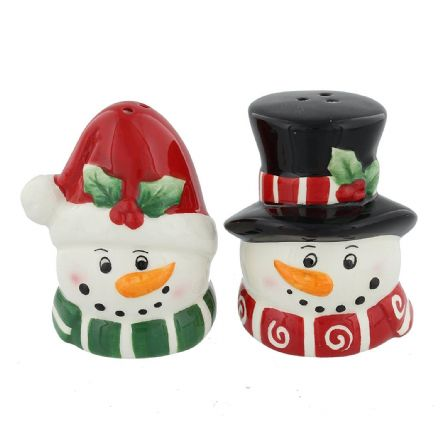 Mr & Mrs Snowman Cruet Set ~ Snowmen Salt & Pepper